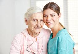 portrait of elderly woman and nurse