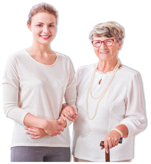 portrait of health care assistant and elderly woman