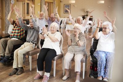 group of elderlies enjoying fitness class